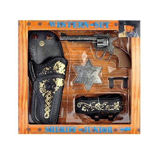 J.G.Schrödel Sheriff-Junior: Sheriff Spielzeugpistole und Pistolengürtel, in Geschenkebox, Western-Set, schwarz/braun (495 ()