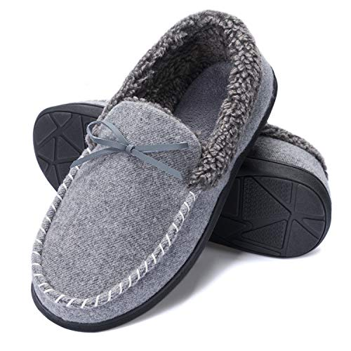 K KomForme Men Slippers, Cozy Memory Foam Micro Suede Slippers with Fuzzy Plush Wool-Like Lining, Slip on House Shoes with Indoor Outdoor Anti-Skid Rubber Sole