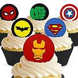 Cakeshop 12 x VORGESCHNITTENE UND ESSBARE Superhelden Logos Kuchen topper (Tortenaufleger)
