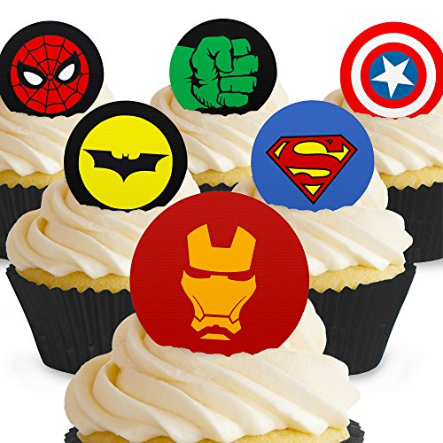 Cakeshop 12 x PRE-CUT Superhero Logo Edible Cake Toppers