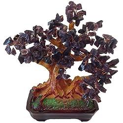GMMH Feng Shui Glücksbaum 25 cm Geldbaum Bonsai Pfennigbaum Handarbeit Stein lila Amethyst