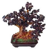 Feng Shui suerte árbol 25 cm crásula Bonsai árbol pfennig lila Amatista Piedra hecho a mano