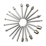 HWA KUNG 20pcs Tungsten Carbide Rotary Burr Set Double Cut Points File Grinder Cutter 3mm Bit Shank for DIY Woodworking, Carving, Engraving, Drilling Tool