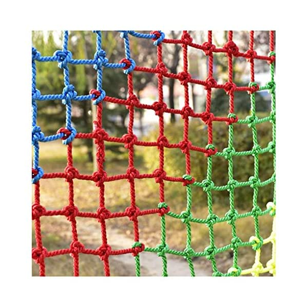 Children's Climbing Net, Color Rope Net, Fence Net, Pet Cat Stair Anti-fall Net, Garden Plant Protection Net, Wall Ceiling Amusement Park Decoration Net Size: 1×5M (Size : 3 * 7M)  ✪ Material: Polyester braided rope, hand-tightened, so that the mesh has greater tensile strength and strong impact resistance. Climbing Net. ✪ Three strands of rope: Woven with three strands of rope, precision wiring, workmanship, high temperature baking, dyeing, anti-corrosion, waterproof, sunscreen, anti-reinforced braided rope is not easy to break, durable. Climbing Net. ✪ Hand-woven: Lightweight child safety stair protection net, high-grade sturdy fabric, professional knotting, multi-strand weaving, make the rope more durable, has strong impact resistance, and protect children's safety. Climbing Net. 1