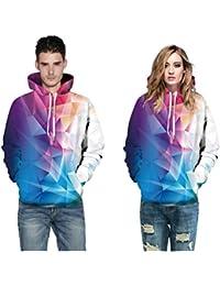 YYHSO Adulto Sweatshirt Irregular Costura de Color 3D Impreso Moda Sudadera con Capucha por Amigos Regalo