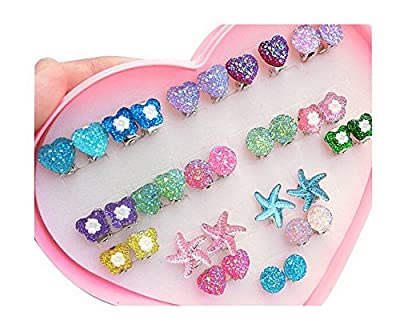 Blancho Set of 17 Clip-on Earrings for Kids Clip-on Earrings for Girls [Multicolor]