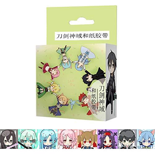Saicowordist Hatsune Miku Diferentes Anime y cinta de papel dibujos animados DIY mano Konto decoración pegatinas Oficina requisitos escolares regalo caliente para fans, color Sword Art Online
