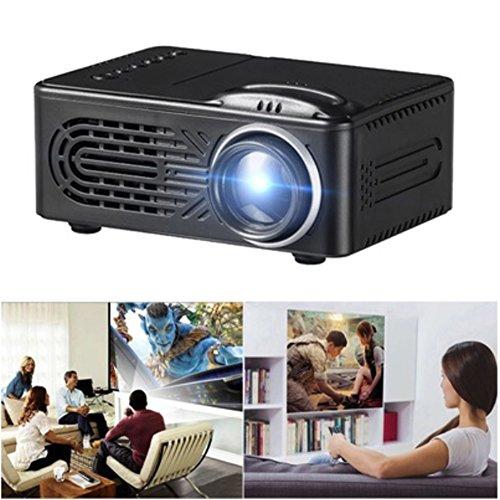 Jiayuane (Schwarz + EU-Stecker) G814 Mini-LED-Videoprojektor, 6000 Lumen Multimedia-Heimkino-Video-Projektor-Unterstützung 1080 P HDMI USB SD-Karte VGA AV Heimkino TV Laptop Spiel iPhone Android Smart (6000 Lumen-led-projektor)