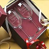 Regalo personalizable para cumpleaños de mujer: Copas de vino grabadas con el texto que tú quieras