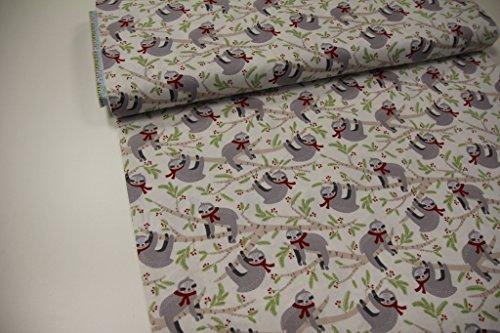 faultier stoff Stoff / Meterware / ab 25cm / beste Baumwoll-Qualität / Baumwolle (USA-Design) Winter Faultier auf weiß (Robert Kaufman)