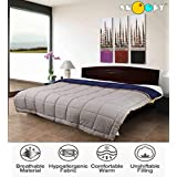Snoopy Home Ultra Soft Microfibre Reversible Double Bed Comforter - King Size, Navy Blue and Grey