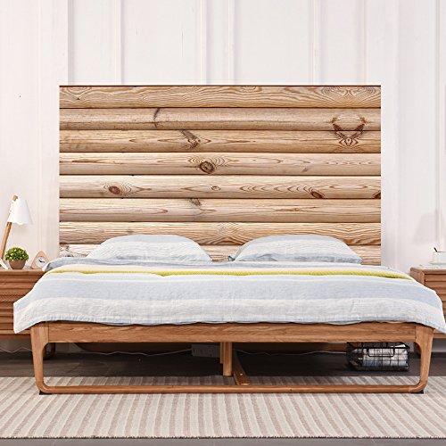 Nordic minimalista legno testata decorativa legno angosciato pannello di legno grano adesivo peel-stick carta da parati arte murale decor decalcomania smontabile camera da letto creativa adesivi murali,king