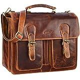STILORD 'Karl' Aktentasche Herren Lehrertasche Bürotasche Laptoptasche Umhängetasche XL Businesstasche Vintage groß aus echtem Leder , Farbe:kara - cognac