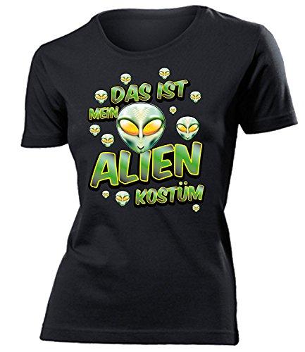 Alienkostüm Alien Kostüm Kleidung 1802 Damen T-Shirt Frauen Karneval Fasching Faschingskostüm Karnevalskostüm Paarkostüm Gruppenkostüm Schwarz ()