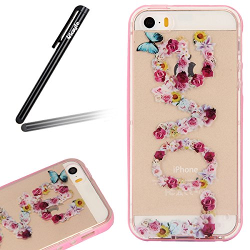 iPhone SE / 5 / 5s Coque Housse Etui, iPhone 5s Argent Coque en Silicone, iPhone 5s Placage Coque Clair Ultra-Mince Rose Gold Etui Housse, iPhone 5 Gel Souple Coque Transparent Housse, iPhone 5 / 5s S rose amour