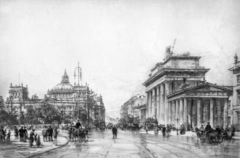 Kunstverlag Christoph Falk Einfarbige Handkupfer Berlin, Brandenburger Tor mit Reichstag als Loses Blatt
