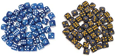B B B Blesiya 100x Noir Et Bleu en Dés Point D6 Acrylique Jeu De Plateau De Jeu Jouet pour TRPG DND MTG 319592
