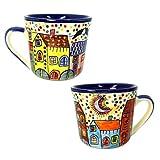XL Tasse Kaffeetasse Teetasse Geschirr Keramik Bemalt Bunt Groß Set/2 - Gall&Zick