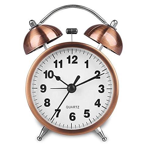 hense non tic-tac Twin Bell réveil de chevet veilleuse à piles alarme horloge avec couleur cuivre vif ha41