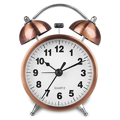 Hense ticchettio comodino orologio sveglia a doppia campana alimentato a batteria luce allarme orologi con colore rame ha41 3'' #Arabic Numerals