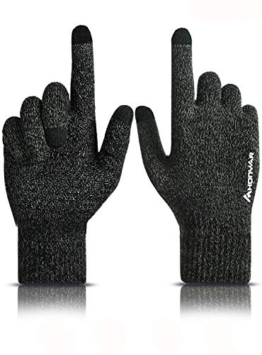 HONYAR Handschuhe Herren Winter, Winterhandschuhe Damen Touchscreen - Warm Gefüttert - Elastische Manschette - Rutschfester Griff - Fahrradhandschuhe Arbeitshandschuhe Autofahren - Grau (M)