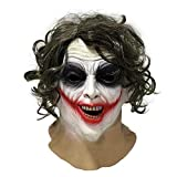 Joker Latex Maske Batman Kostüm. Perfekt für Partys, Kostüme, Halloween-Events und Filmkostüme (braune Haare)