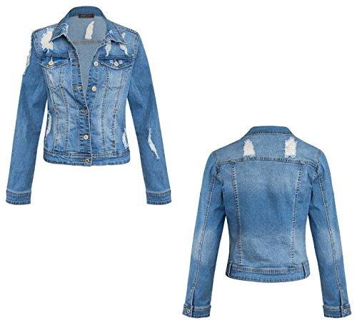 Womens Long Sleeve Distress Ripped Button up Summer Denim Casual Jacket 8-14