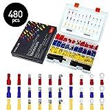 480Pcs Isolierte Kabelschuhe Anschlussklemme Drahtklemmen Quetschverbindern Steckverbinder Crimpverbinder Sortiment Kit SOMELINE