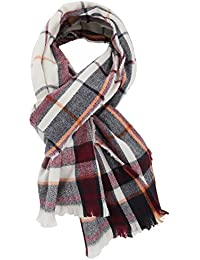 Womens/Ladies Lightweight Check Pattern Winter Blanket Scarf With Fringe