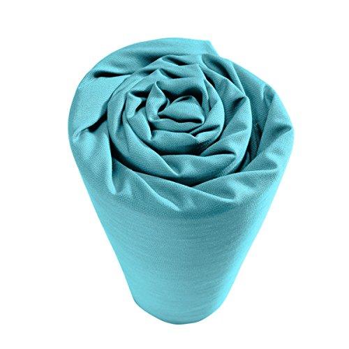 Drap housse 100% percale de coton Uni 90 x 190 cm Bleu