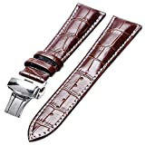YISUYA 20mm Genuine Leather Cowhide Replacement Watch Band Strap Push Button Deployment Clasp Brown