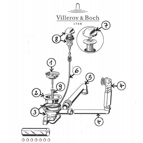 Preisvergleich Produktbild Ab- und Überlaufgarnitur für Villeroy & Boch Spüle Subway 45 mit Exzenterbetätigung