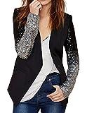 M-Queen Donna Blazer Paillettes Colore Gradiente Cappotti Cuciture Uno Pulsante Casuale Tailleur Giacca Ufficio Business Outwear-nero-S