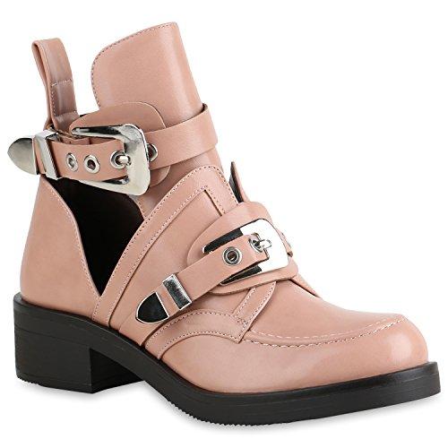 Damen Stiefeletten Ankle Boots Cut Outs Leder-Optik Schuhe Booties 158416 Rosa 40 Flandell (Bootie Leder Damen)
