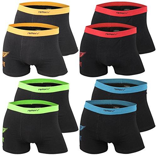 4er   8er   12er Pack Herren Retro Boxershorts Remixx schwarz - Modell 036a exclusive von Lavazio® schwarz - 8er Pack