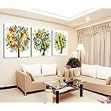 2016 caliente venta Multicolor Árbol Paisaje Pintura Lienzo 3 Ask cuadros Decoracion _ Retrato Hall de pared lienzo juego de pintura por números, Multicolor, 60cm x 60cm x 3pc No Frame
