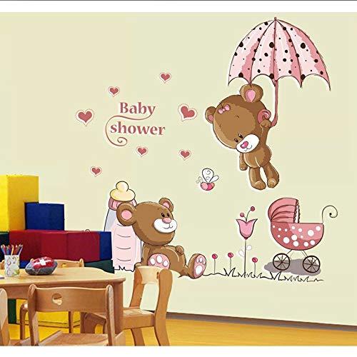 Hbbhbb Pink Cartoon Cat Rabbit Flower Wall Sticker For Baby Girls Kids Rooms Home Decor Teddy Bear Umbrella Classroom Wall Decals90X85Cm (Teddy Flower Girl Bear)