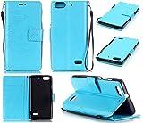 CMID Huawei Honor 4C Hülle mit Handgelenkschlaufe, Buch-Stil Handyhülle PU Leder Flip Case Cover Tasche mit Kartenfach und Ständerfunktion für Huawei Honor 4C (Hellblau)