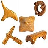 Set of 5 Reflexology Wooden stress Massage, Willdo Massage Wooden Stick Tool Wooden Hand Foot Face Head Body Roller SPA Massager