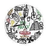 Bunkert Orologi da Parete Rotondi Schizzo Messicano Oggetto Latino con Bottiglia di Tequila ai Burritos Chitarra e Pinata Quetzal Coati Diametro 9,8 '