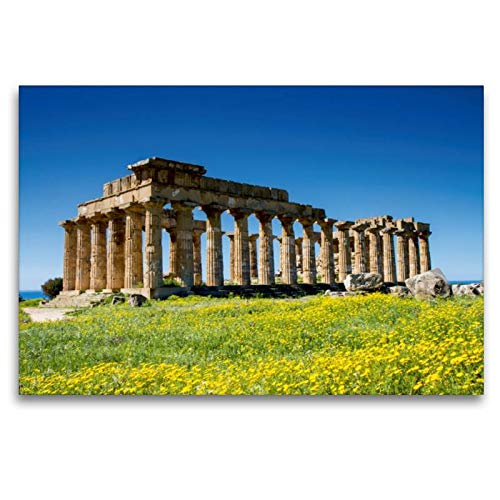 CALVENDO Selinunt - Tela in Tessuto, 120 x 80 cm Orizzontale, Motivo: Sicilia, Tempio Greco E