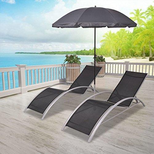 Tidyard 2X Sonnenliegen Aluminium mit Sonnenschirm | Gartenliege | Saunaliege | Gartenmöbel | Camping Gartenliege