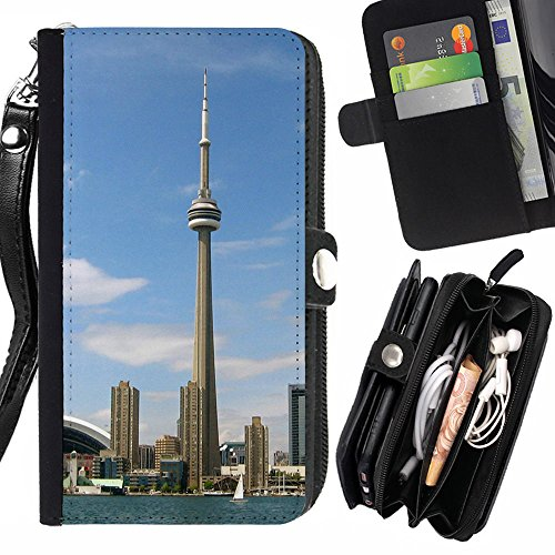 Graphic4You Toronto CN Tower Canada Postkarte Ansichtskarte Design Zipper Brieftasche mit Strap Hülle Tasche Schale Schutzhülle für Samsung Galaxy Express 2