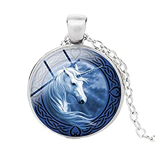 ALCYONEUS Vintage Unicorn Cabochon Glass Pendant Necklace Unisex Sweater Chain Jewelry - Silver 2