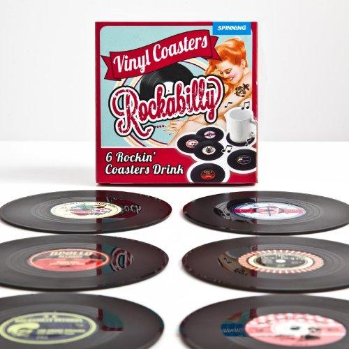 6er Set Glasuntersetzer Rockabilly Schallplatten - Vinyl Style Untersetzer