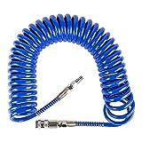 STIER Spiral Druckluftschlauch, Länge: 7,62 m, Presslaufschlauch, Innendurchmesser: 6,5 mm, Betriebsdruck: 10 bar, aus hochwertigem Polyurethan