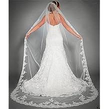 f2c5770382 Novia Velo 3 metros una capa larga encaje novia velo para Catedral de velos  de novia