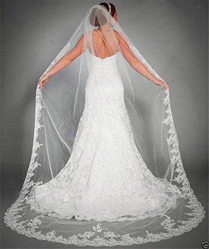Brautschleier 3 Meter Eins Schicht Lange Spitze Braut Schleier Hochzeit Schleier Dom Braut Schleier Weiß Elfenbein , white