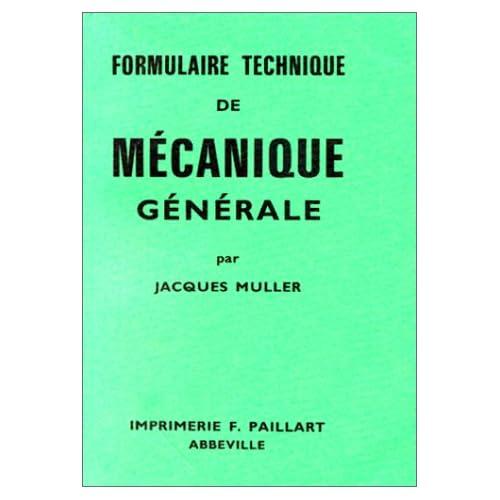 Formulaire technique de mécanique générale