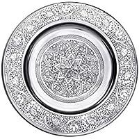 Bandeja oriental redonda hecha de metal Sidra 30cm - Bandeja de té marroquí en el color plata - Decoración oriental en la mesa de servicio